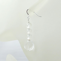 Clear Rock Crystal Faceted Coin Earrings With Sterling Silver - Under 15