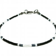Black & White Tiny Seed Bead Surfer Anklet - Monochrome Modern Holiday Anklet