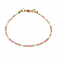 Pink White & Light Gold Stacker Seed Bead Anklet - Modern Minimalist Anklet Gift
