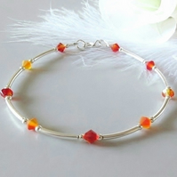 Sterling Silver Bangle Bracelet With Orange Yellow Fire Opal Swarovski Crystals