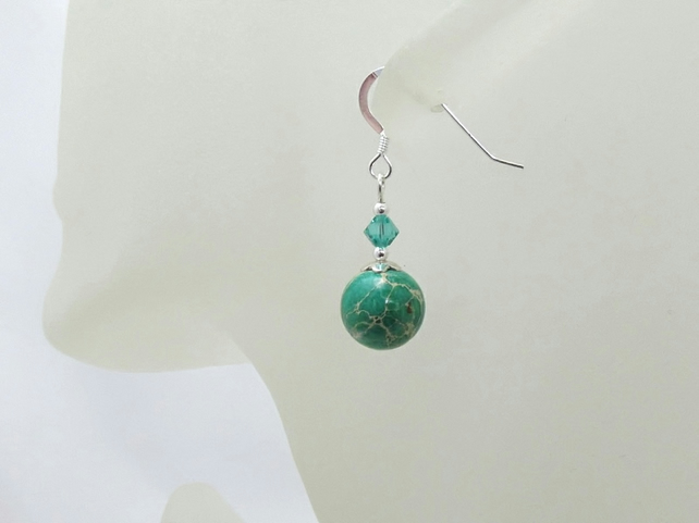 Green Impression Jasper Earrings With Sterling Silver & Swarovski Crystals
