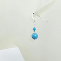 Turquoise Blue Pearls & Crystal Sterling Silver Earrings With Swarovski Elements