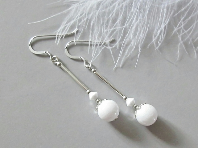 Bright White Agate Earrings With Sterling Silver Tubes & White Austrian Crystals