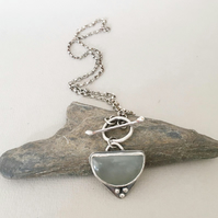 Silver Necklace - Toggle Clasp Necklace - Green Stone Necklace