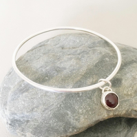 Silver Bangle with Garnet Charm - Solid Silver Bangle