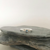 Blue Topaz Ring - Solitaire Ring - Blue Stone Ring - Topaz Ring - Stacking Ring