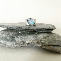 Opal Ring - Wide Band Ring - Australian Opal Doublet Ring