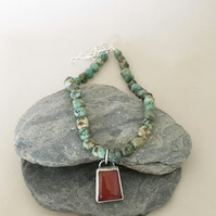 Turquoise Necklace - Boho Necklace - Carnelian and Turquoise Necklace