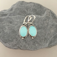 Turquoise Earrings - Silver and Turquoise - Silver Earrings