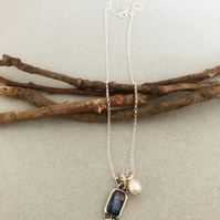 Blue Kyanite Necklace - Blue Stone Necklace - Dainty Silver Necklace