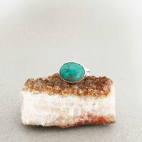 Turquoise Ring - Silver Ring - Large Turquoise Ring