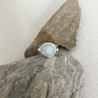 Aquamarine Ring - Silver Ring - Wide Band Ring
