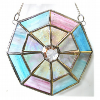 Octagon Suncatcher Stained Glass Crystal Abstract 010