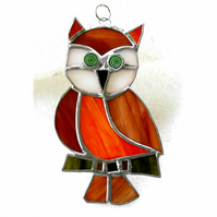 Cute Owl Stained Glass Suncatcher Handcrafted Bird Ginger
