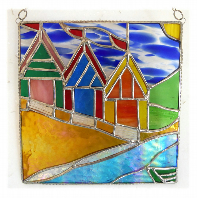 Beach Hut Picture Stained Glass By the Sea Suncatcher Handmade 014