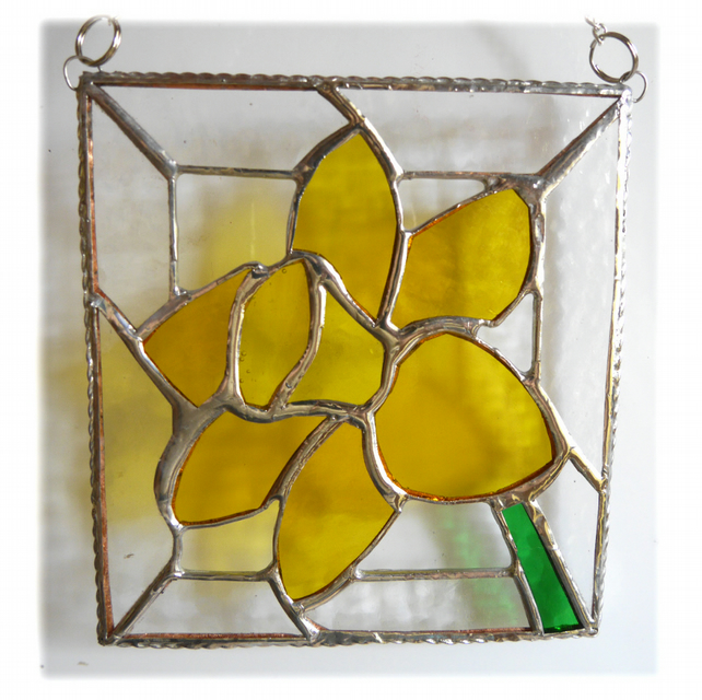 Daffodil Stained Glass Framed Suncatcher Spring Flower 026