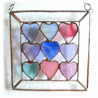 9 of Hearts Suncatcher Stained Glass Framed 014 Pastel