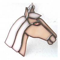 Horse Suncatcher Stained Glass Horsehead Palamino 108
