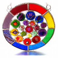 Rainbow Circles Suncatcher Stained Glass Handmade fused 019