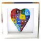 Rainbow Patchwork Heart in Box Frame Fused Glass Picture 005 006