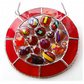 Melting Pot Suncatcher Stained Glass Abstract Handmade fused 005 Red