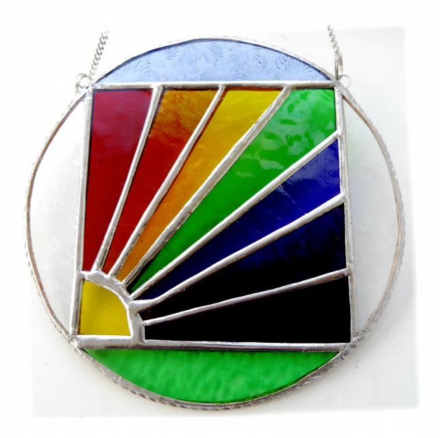 Rainbow Weather Suncatcher Stained Glass Handmade Ring 007