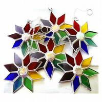 Rainbow Dichroic Star Stained Glass Suncatcher Tree Decoration 9.5 cm