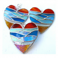 Sea Heart Suncatcher Stained Glass Beach Seaside Sunset Sky