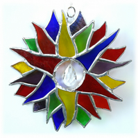 Double Rainbow Sun Suncatcher Stained Glass 007