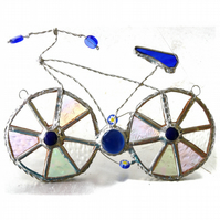 Bicycle Suncatcher Blue Stained Glass Handmade Cycling 024
