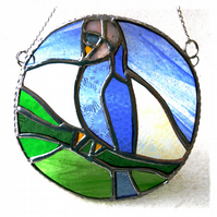 RESERVED Budgerigar Ring Stained Glass Suncatcher Budgie Blue