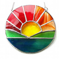 Sunrise Picture Stained Glass Suncatcher Handmade Sun Ring 043
