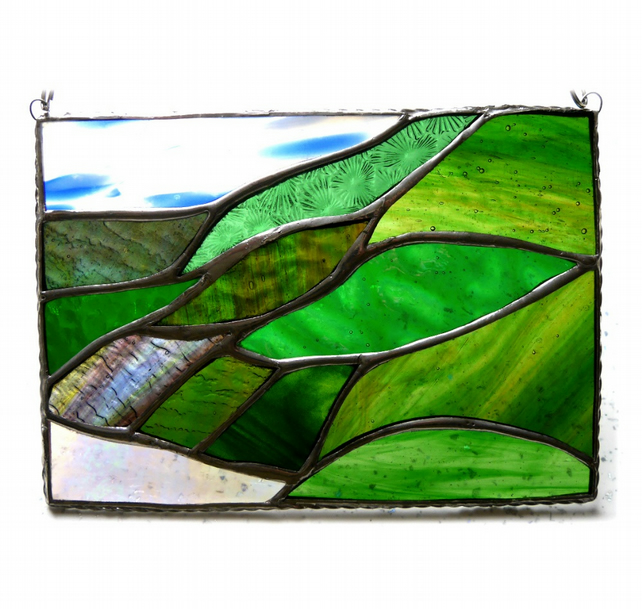 Scottish Mountains Panel Stained Glass Picture Landscape 013