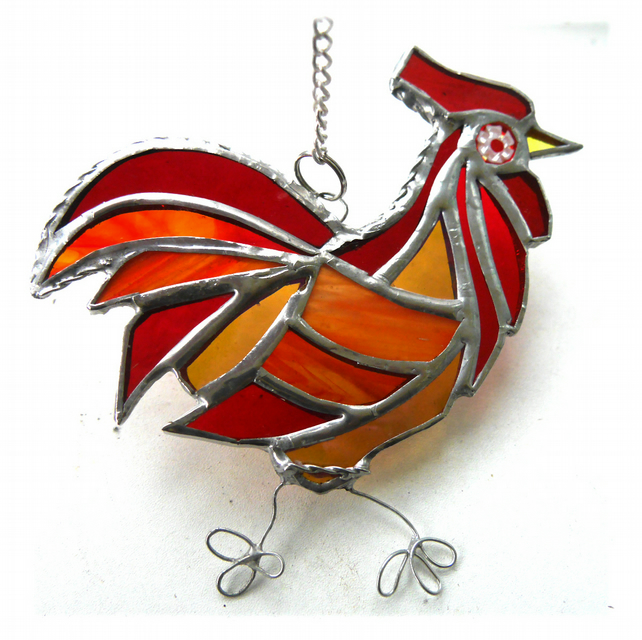 Cockerel Suncatcher Stained Glass chicken 038 Red