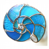 Ammonite Stained Glass Suncatcher Turquoise Sea-Colours 028