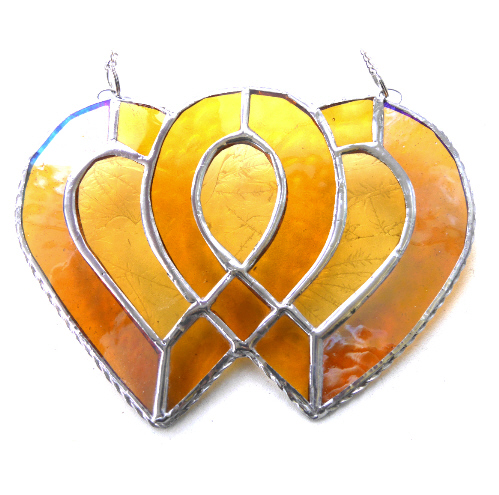 Entwined Heart Suncatcher Stained Glass Golden Wedding 025