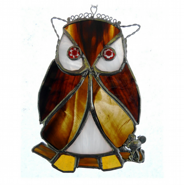 Owl Suncatcher Stained Glass Handmade Bird 030