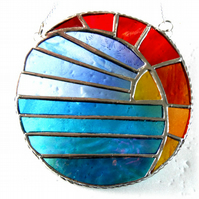 Sunset Moon and Sea Stained Glass Suncatcher 004