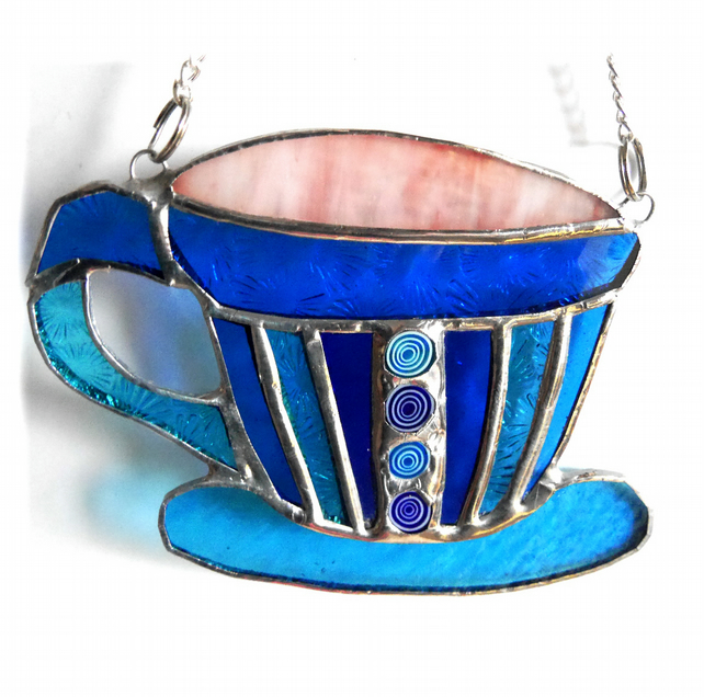 Teacup Stained Glass Suncatcher coffee cup mug 012
