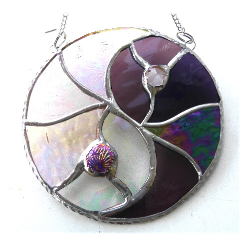 Yin Yang Suncatcher Stained Glass Handmade Purple 014