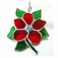 Clematis Suncatcher Stained Glass Flower Red