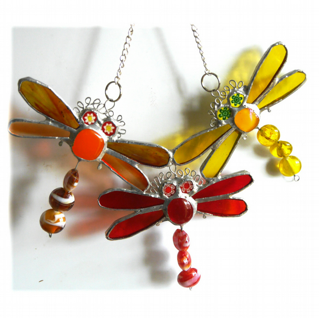 Trio of Dragonflies Suncatcher Stained Glass 007
