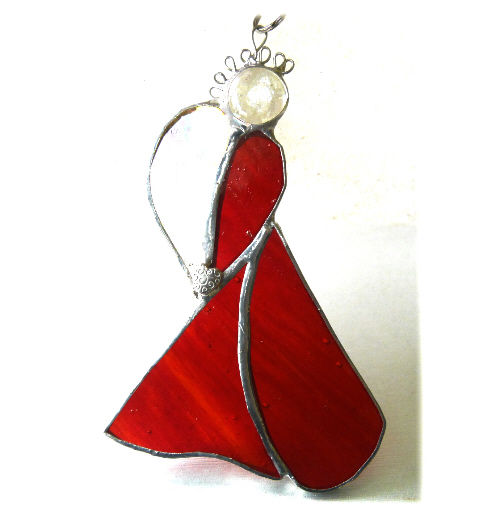Angel Suncatcher Stained Glass Heart Red Christmas 030