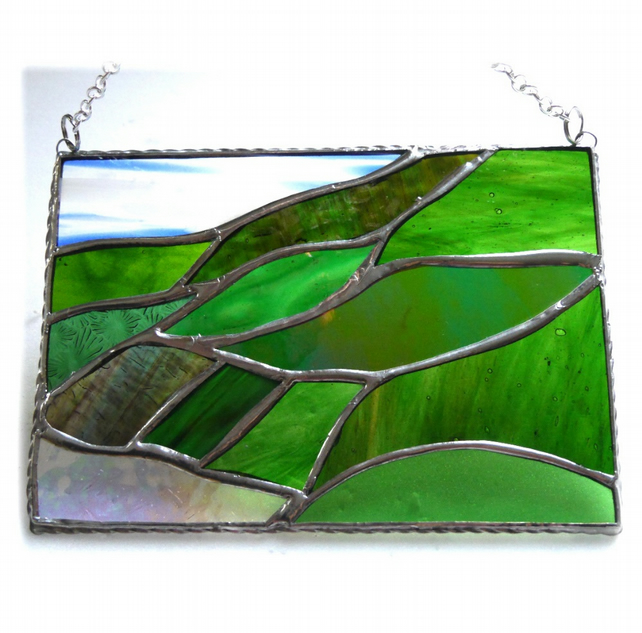 Scottish Mountains Panel Stained Glass Picture Landscape 014