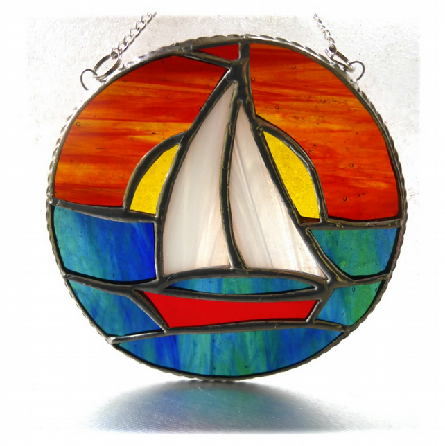 Sailboat Sunset Stained Glass Suncatcher Handmade Ring 011