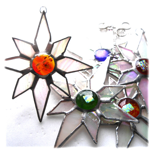 Shiny White Dichroic Star Stained Glass Suncatcher 010 Amber