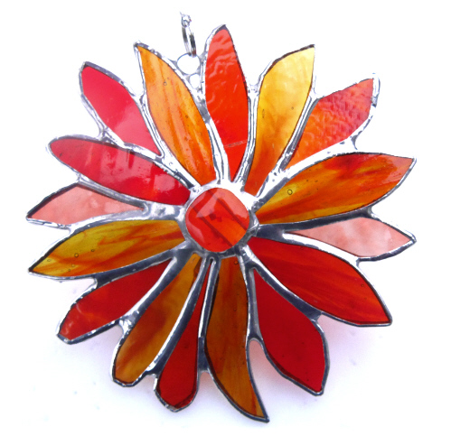 Autumn Flower Stained Glass Suncatcher Handmade 008