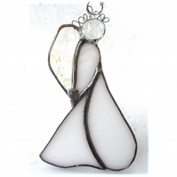 Angel Suncatcher Stained Glass Heart White Christmas 034