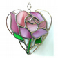Pink Rose Heart Suncatcher Stained Glass 027