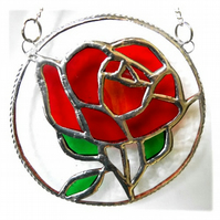 Rose Ring Suncatcher Stained Glass Red